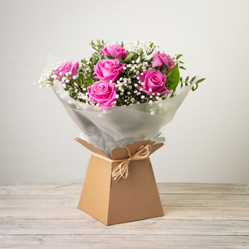 6 Rose Hand-tied Pink