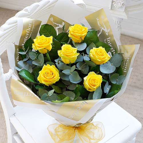 6 Rose Hand-tied Yellow
